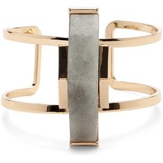 Sole Society Abstract Stone Cuff (220 CNY) ❤ liked on Polyvore featuring jewelry, bracelets, gold, cuff bangle, sole society, stone jewellery, abstract jewelry and cuff jewelry