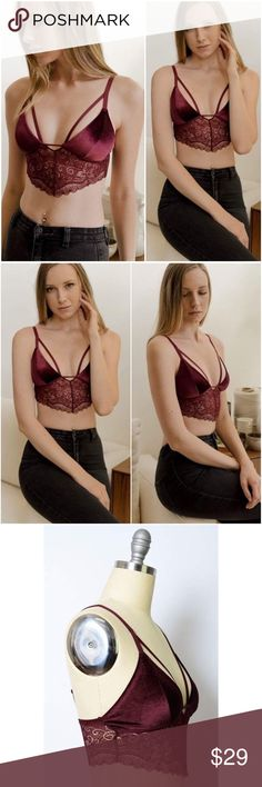 PREORDER Wine Velvet Longline Lace Bralette Please note this is a preorder item shipping within 7 business days.  Perfect mix of 90's and sultry!  100% Polyester  Available in Small, Medium, Large. Recommended Sizing: Small 34A, 32B, 34B, 32C -- Medium 36A, 34B, 36B, 34C -- Large 38A, 36B, 38B, 36C A Mermaid's Epiphany Intimates & Sleepwear Bras