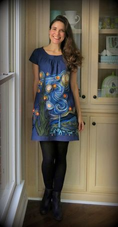 How to needle felt a mural dress tutorial by Cassie Stephens: DIY: A Felted, Light-Up Starry Night Dress!