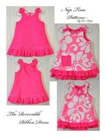 Eva from Couturier Mommy shows how to make this Reversible Ribbon Dress for little girls. The A-line dress is embellished with ruffles across the bottom and pretty ribbons on the straps. So prett…