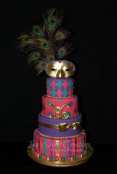 Masquerade Sweet 16th Birthday Cake