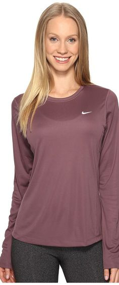 Nike Dri-FIT Miler L/S Running Top (Purple Shade) Women's Long Sleeve Pullover - Nike, Dri-FIT Miler L/S Running Top, 686904-533, Apparel Top Long Sleeve Pullover, Long Sleeve Pullover, Top, Apparel, Clothes Clothing, Gift - Outfit Ideas And Street Style 2017