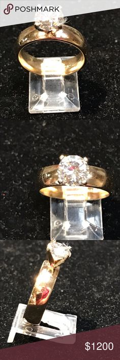 AMAZING 14k gold 2 Ct diamond Moissanite This ring is fabulous it's a size 9.25 and is SOLID 14k yellow gold. It weighs over 9 grams. The center stone is real genuine 2 ctw white Moissanite. This is my own creation so please ask questions. The stone is AAA Vvs not a Charles Colver stone but the quality is just as good. Feel free to make reasonable offers . Sorry one of the photos has a thread from cleaning. It's off now. Perfect . No off line transactions Jewelry Rings