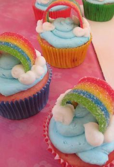 Rainbow cupcakes at a My Little Pony Birthday Party!  See more party planning ideas at CatchMyParty.com!