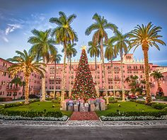 At Florida's Boca Raton Resort, you can enjoy a beach bonfire with s'mores after ice-skating at the resort's new rink, browsing a pop-up holiday market, and admiring its 40-foot tree flanked by palms.