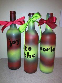 Christmas Wine Bottle Decoration by LadybugsAndElephants on Etsy. , via Etsy.