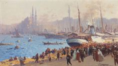 The shore at Galata, Constantinople by Fausto Zonaro