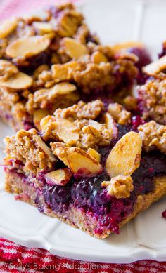 Healthy Mixed Berry Streusel Bars made with wholesome, healthy ingredients. You won't even realize they're good for you!