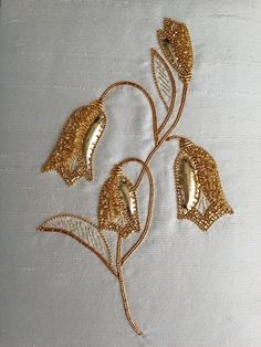 Completed Harebell goldwork kit from Golden Hinde. Zardozi Embroidery, Kurti Embroidery Design, Hand Work Embroidery, Couture Embroidery, Gold Embroidery, Embroidery Fashion, Hand Embroidery Patterns, Embroidery Stitches, Bordados Tambour