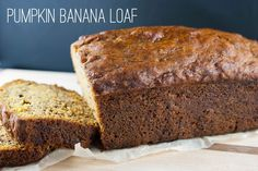 Banana loaf packed with pumpkin - a bread you'll want to make again and again this fall. | www.staceysrecipes.com Loaf Recipes, Loaf Pan, Pumpkin Puree, Pumpkin Recipes, Baking Soda, Banana Bread, Breads, Muffins, Frozen