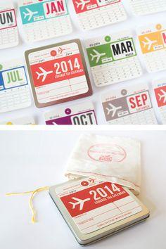 2014 wall calendar inspired by vintage luggage tags —$30 via @Jaline Eguillos-Johnson Lyons*in*gear studio #2014Calendar