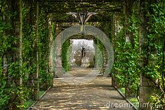 Green pergola in Branitz palace. Germany. Europe.