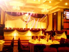 #Wedding #reception #banquet with classic #drapery #decoration, under the theme of burgundy and silver. #Backdrop, #head table, #cake table and #champagne table, the #shinny colour theme makes the whole banquet hall #elegant and #romantic!