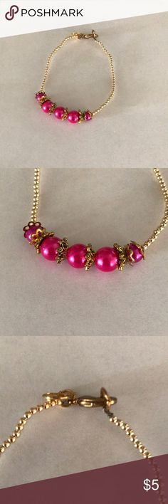 Gold Pearls & Magenta Glass Beads Bracelet Brand new without tags Gold Pearls & Magenta Glass Beads Bracelet with gold plated clasp. Clasp works perfectly. Filigree Design gold plated spacer beads between each magenta bead. Never been used. Fits small wrists. Price is firm. No trades. Jewelry Bracelets