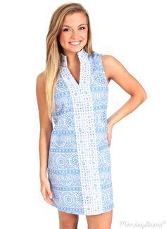 Sun Is Shining Blue Pattern Crochet Shift Dress | Monday Dress Boutique