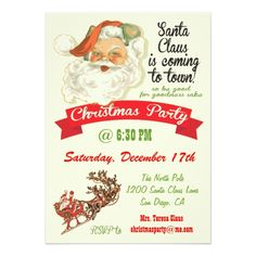 Santa Claus is coming to town Party Invitations