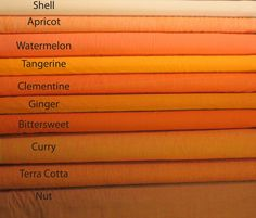 Kaffe Fett Shot Cottons Orange Color Chart Tangerine Watermelon