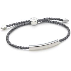 Monica Vinader Linear Men's Friendship Bracelet ($150) ❤ liked on Polyvore featuring jewelry, bracelets, engraved bracelet, sterling silver bracelet bangle, pandora jewelry, stackable bracelet and womens jewellery