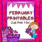 Being a teacher can be tough, and sometimes you just need  a moment to think! This packet of February printables was created  with the busy teacher...
