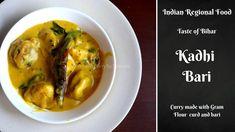 Kadhi Bari or Kadhi Pakora is one of the popular Bihari recipe. Kadhi is prepared many regions in India but own region has it's one recipe. Pakora Recipes, Curry Recipes, Vegetarian Curry, Vegetarian Recipes, Bari, Lunch Recipes, Middle East, Indian Food Recipes, Latina