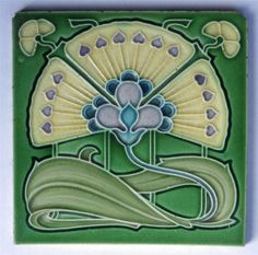 Antique Art Nouveau Tile by Cleveland Tile Co c1905