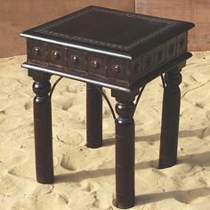 Elegant Handmade Solid Wood Side End Table accented with Wrought Iron Decorative Sunflowers.