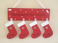 PERSONALISED WOODEN GIFT SHABBY CHIC CHRISTMAS FAMILY PLAQUE HANGING STOCKINGS | eBay