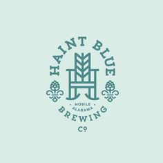 Haint Blue Brewing Co. Beer Logo Design, Brewery Design, Beer Label Design, Badge Design, Typography Design, Branding Design, Brewery Logos, Beer Brewery, Library Logo