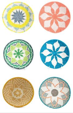 Paid designs on wicker paper plate holders  sc 1 st  Pinterest & Wicker Paper Plate Holders FOUR Picnic Colorful Painted Upcycled ...