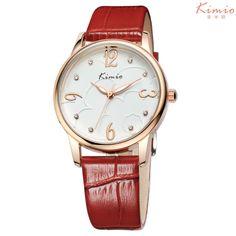 2014 New women dress watch fashion quartz wristwatch casual rhinestone watches genuine leather bracelet Kimio watch jewelly $36.34 - 43.34