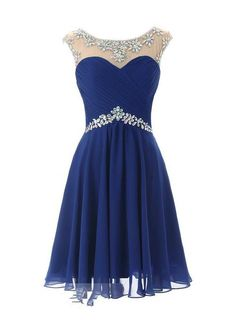 2015 New Coming Fashion Cap Sleeves A-Line Scoop Neck Beadings Short Chiffon Custom Made Homecoming Dress Modest Knee Length Pleated With Backless Cocktail Dress