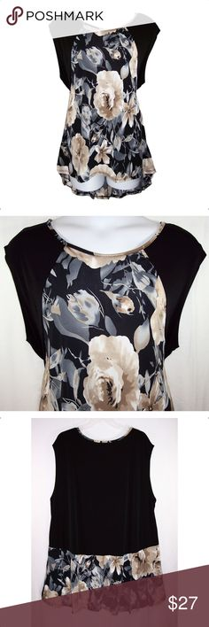 YUMMY PLUS Floral Hi-Lo Hem Top NWOT Black, beige, white in color, scoop neck, cap sleeves, hi-lo hem with flounce in back, soft silky fabric is 95% polyester, 5% spandex, machine washable. Measurements: 4X-bust 52 to 60 (stretched), length- 30 to 31 1/2. 6X-bust 30 to 68 (stretched), length-30 to 35. NWOT *Price Firm* Yummy Plus Tops Tunics