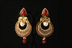 Indian Bollywood Fashion Jewelry Attractive Shining Gold Plated Earrings Set #Handmade #DropDangle