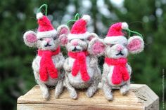 Needlefelted Christmas Mice Ornaments!