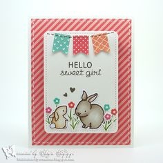 Lawn Fawn - Hello Baby + coordinating dies, Stitched Journaling Card Lawn Cuts dies, Let's Polka 6x6 paper _ totally adorable new baby card by Anja via Flickr - Photo Sharing!