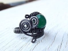 Adjustable Wire Wrapped Ring In Copper And Green Onyx