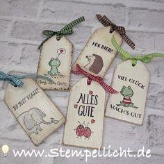 Holz Anhänger oder Tags mit weihnachtlichen Motiven und mit den Tieren von Love you Lots von Stampin`Up!