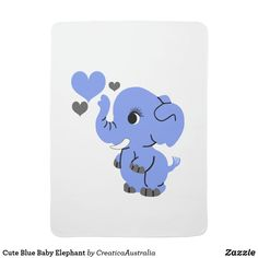 Cute Blue Baby Elephant Baby Blanket