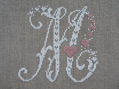 initial A for christmas Cross Stitch Letters, Simple Cross Stitch, Beaded Cross Stitch, Cross Stitch Samplers, Modern Cross Stitch, Counted Cross Stitch Patterns, Cross Stitching, Cross Stitch Embroidery, Embroidery Alphabet