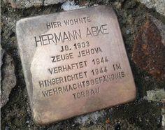 Stolperstein in Hardenbergstrasse 7, Herford Deutschland von Hermann Abke, Zeuge Jehova remembering the Holocaust