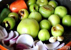 Roasted Tomatillo Salsa {Beard and Bonnet} Gluten Free Tortilla Chips, Gluten Free Tortillas, Salsa Salsa, Salsa Verde, Clean Eating Hummus, Roasted Tomatillo Salsa, Flavored Olive Oil, Onion Juice, The Husk