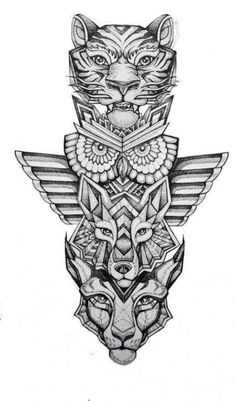 dragon and tiger totem with moth wings Geometric & Dot Work Shading Leg Tattoos, Body Art Tattoos, Tattoo Drawings, Sleeve Tattoos, Tattoo Art, Tattoo Wolf, Lion Tattoo, Tribal Tattoos, Star Tattoos