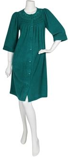 8ec42bd684 Miss Elaine® Brushed Back Terry Short Gripper Robe. 3 4 length sleeves.