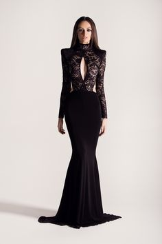 Black stretch lace, long sleeve, strong shoulder, mermaid gown. - For best fit, scroll down to see the Michael Costello Size Chart- When choosing height, include the inches of your heels