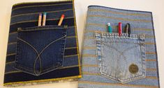 In just a couple of hours you can turn an old pair of jeans into a composition book cover that your back to school teen is sure to love.