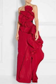 Marchesa|Asymmetric ruffled silk-faille gown|NET-A-PORTER.COM