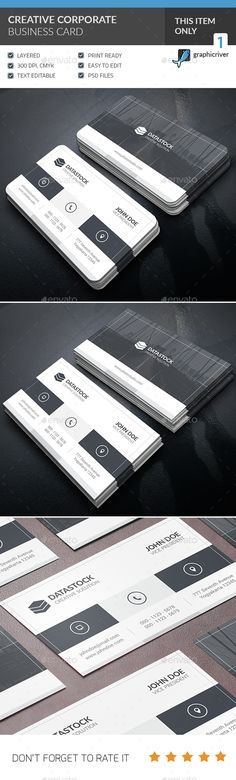 Creative Corporate Business Card — Photoshop PSD #horizontal #company • Available here → https://graphicriver.net/item/creative-corporate-business-card/14784474?ref=pxcr