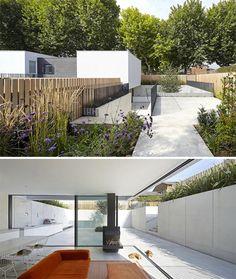 Modern Concrete London House Sunken Below Street Level
