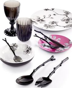 This would blend well with the Clinton Kelly collection-MADHOUSE by Michael Aram Black Orchid Melamine Collection