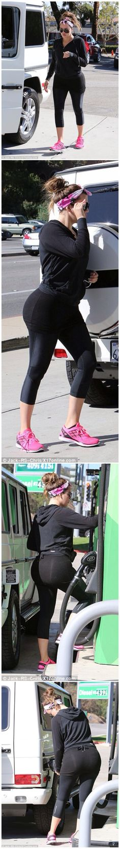 Keeping up with her fitness regime! Khloe Kardashian shows off her shapely rear in figure-hugging gym gear as she enjoys early morning workout.